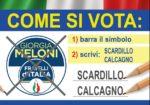 Il 20-21 SETTEMBRE BARRA IL SIMBOLO DI FRATELLI D'ITALIA E SCRIVI CALCAGNO SCARDILLO