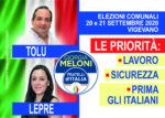 Il 20-21 SETTEMBRE BARRA IL SIMBOLO DI FRATELLI D'ITALIA E SCRIVI LEPRE  e TOLU