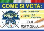 Il 20-21 SETTEMBRE BARRA IL SIMBOLO DI FRATELLI D'ITALIA E SCRIVI TOLU MONTAGNANA