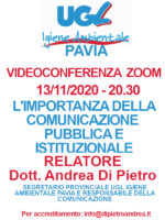 VIDEOCONFERENZA ZOOM 13/11/2020: L'IMPORTANZA DELLA COMUNICAZIONE PUBBLICA E ISTITUZIONALE –  RELATORE DOTT. ANDREA DI PIETRO