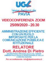VIDEOCONFERENZA ZOOM 25/09/2020: AMMINISTRAZIONE EFFICIENTE CON UN RUOLO IMPORTANTE PER LA COMUNICAZIONE PUBBLICA E ISTITUZIONALE – RELATORE Dott. Andrea Di Pietro