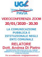 VIDEOCONFERENZA ZOOM 20/01/2020: LA COMUNICAZIONE PUBBLICA E ISTITUZIONALE NEGLI ENTI COMUNALI –  RELATORE DOTT. ANDREA DI PIETRO